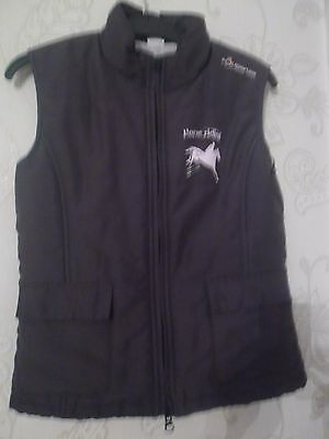 Fouganza dark grey  riding gilet with pink horse motif on front & back age 12