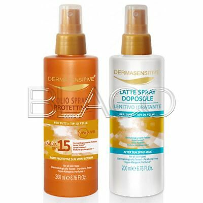 Dermasensitive Kit Olio Spray Protettivo Spf15 E Latte Spray Doposole - 200Ml