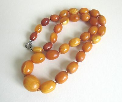 Very Rare Antique Butterscotch Egg Yolk Amber Bead Necklace 100% Natural  22.9g