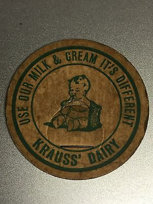 Older Vintage Milk Bottle Cap with Baby ~ Krauss' Dairy ~ Sebewaing, Michigan