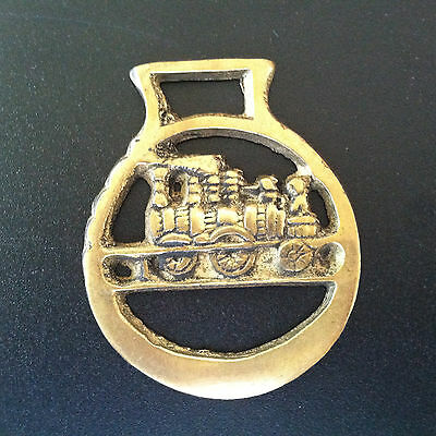 "TRAIN vintage 2.5"" horse brass medallion Equestrian Horse Harness Medallion"
