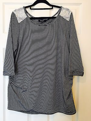 New look Maternity Top Size 14 Blue And White Stripes