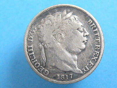 1817 KING GEORGE III -  SILVER SIXPENCE COIN - Laureate Head