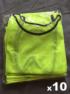 New Yellow Mesh Sports Training Bibs Vests. Adult size. Football, Rugby. 10 Pack
