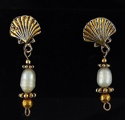 Gold Clam shell Post Earrings with white pearls