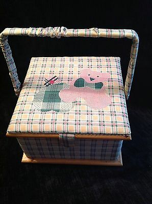Vintage Sewing Box/Basket With Padded Top in Pretty Teddy Fabric