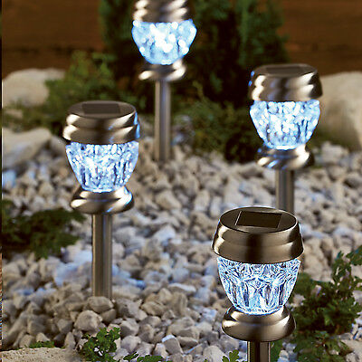4 Solar Powered Crystal Acrylic Stake Lights LED Table Lanterns 2-In-1 Lights