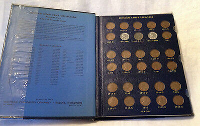 US Lincoln Cent Collection 1941-1974 in Whitman Coin Album - 87 Coins