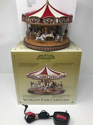 Mr Christmas Worlds Fair Musical Carousel Gold Label Collection In Box
