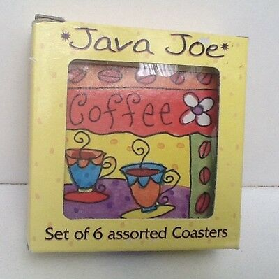 6 Pc SET Java Joe CORK BACKED COASTERS Bright Fun Designs