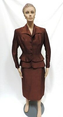 LILLI ANN Suit M 1940s Peplum Bronze Hourglass Cocktail 2 Pc Dress AS IS
