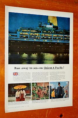 1957 P & O Pacific Cruise Ship Run Away To Sea Canadian Ad - Vintage Travel