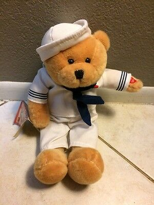 """Chantilly Lane 11"""" American Hero Navy Bear Sings """"Anchors Aweigh"""" With Tags"""