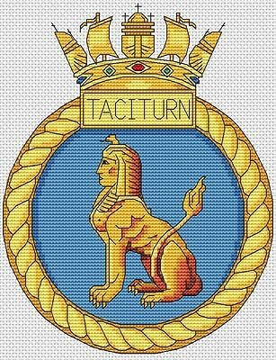"HMS Taciturn Royal Navy Ship Crest Cross Stitch Design (6x8"",15x20cm,kit/chart)"