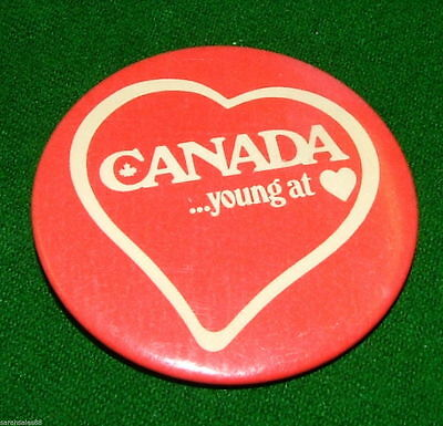 CANADA Young at (Heart) Toronto, Button Badge Brooch, Pin, Vintage Metal Pinback