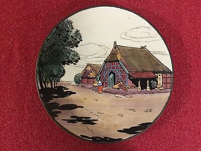 Vintage Nippon Hand Painted Barn/Country Scene  Wall Plate Plaque EXC