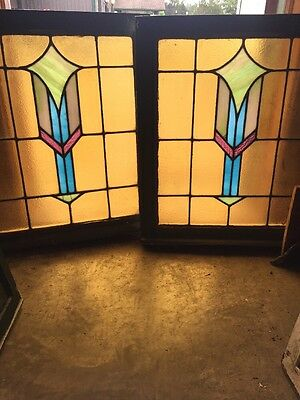 SG 1476 Match Pair Antique Stainglass Windows 24.5 X 29.25