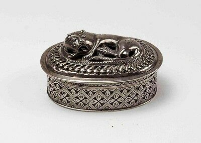 Antique snuff box sterling silver 900 asian, indian? lion betel