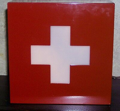 Vintage Lighted Metal Box Electric Lamp Red Cross Sign Emergency First Aid Light