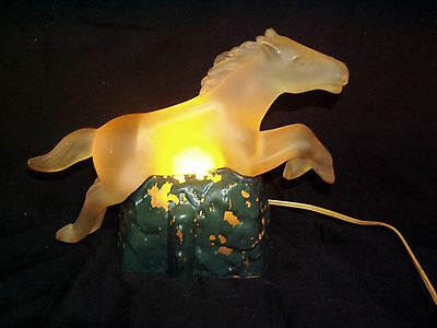 Antique Art Deco Frosted Glass Jumping Horse Radio Lamp TV Light Attr  Haley