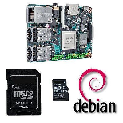 Asus Tinker Board Starter Kit - Debian OS, HDMI cable, 5V 2A power, clear case