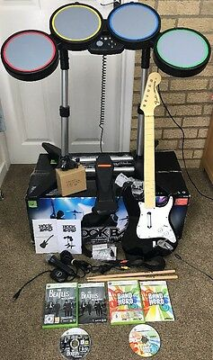 Xbox 360 Band Hero Rock Band bundle, Drum Kit, Guitar, Mic, foot pedal + Games