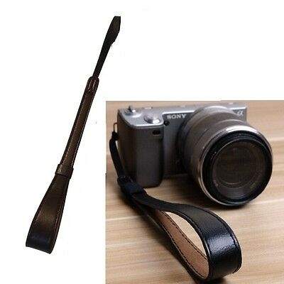 Black Leather Camera Wrist Hand Strap for Canon Nikon Olympus Leica
