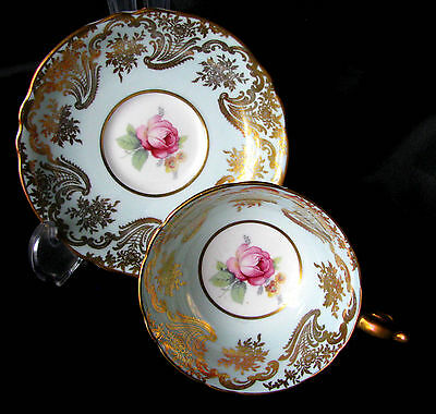 Paragon Double Warrant Blue Teacup & Saucer Pink Rose Tea Cup & Saucer c.1939