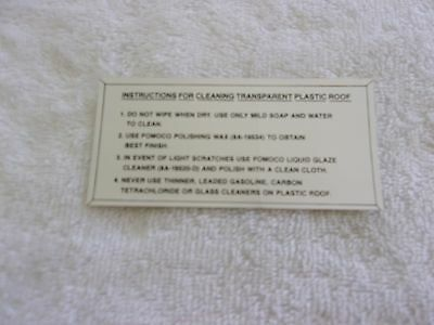 Ford 1955 1956 Transparent Plastic Roof Top Instruction Cleaning Decal