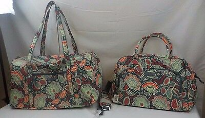 NEW NWT LOT VERA BRADLEY Weekender Travel Bag + Large Duffel Nomadic Floral GRAY