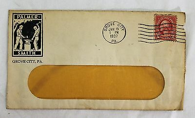 Vintage Grove City PA advertising Palmer Smith 1937 stamped /postmarked envelope