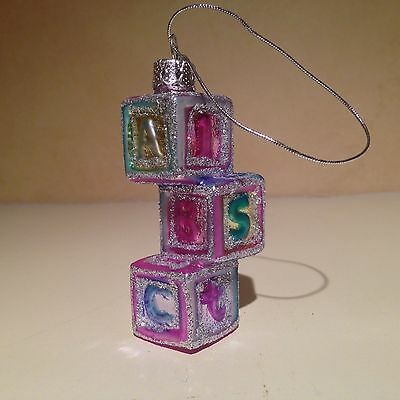BLOWN GLASS BABY GIRL ABC BLOCKS CHRISTMAS ORNAMENT ~ Baby's First