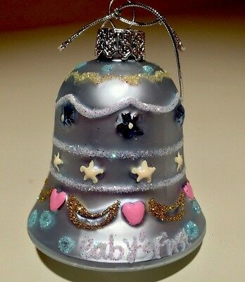 BLOWN GLASS BABY BOY Bell with Hearts Stars CHRISTMAS ORNAMENT ~ Baby's First