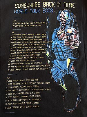 Iron Maiden Vintage Rare XL T Shirt Somewhere Back In Time World Tour 08