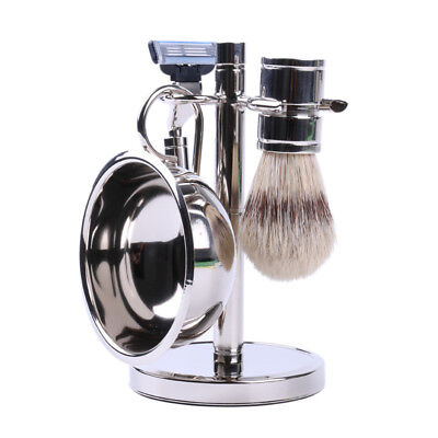 Men's Stainless Steel Shaving Set - Bowl, Brush, and Stand (Blade Not Included)