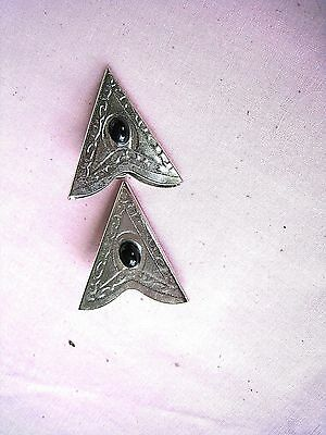 Western Collar Points/Tips....w/black oval stones....Nice Fine Engraving....