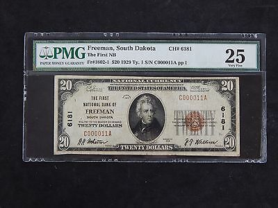$20 1929 Type I National Currency First NB of Freeman, SD - Fr#1802-1 PMG VF 25
