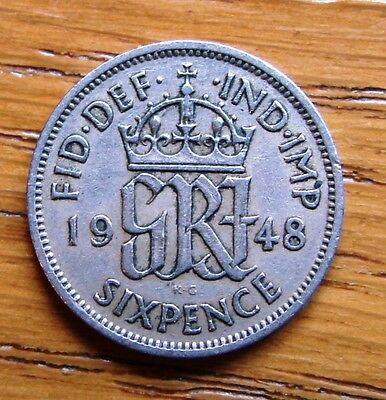 Collectable Great Britain Scarce  1948 King George Vi Six Pence Coin  (A Tanner)