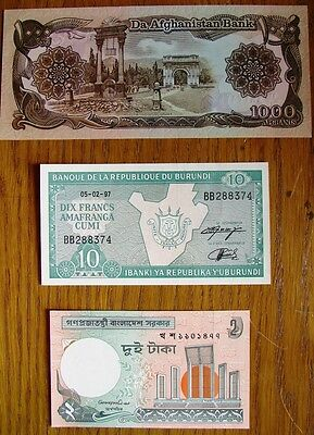Collection Of 3 Collectable Mint World Banknotes Afghanistan Burundi Bangladesh