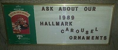 "Vintage HALLMARK STORE SIGN "" 1989 Carousel Ornaments """