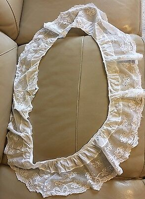 Antique Vintage French White Cotton Lace Flounce Frill Bridal Wedding Projects