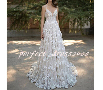 New Applique White/Ivory Wedding Dress A-Line Bridal Gown Custom Size 6 8 10 12+