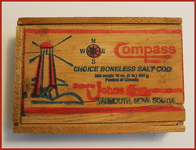 Johns Cove Yarmouth Nova Scotia old SALT COD FISH WOODEN BOX COMPASS Lighthouse