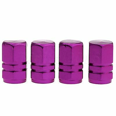 4Pcs Purple Aluminum Car Truck Bike Tire Wheel Valve Stems Cap Air Tyre Cover