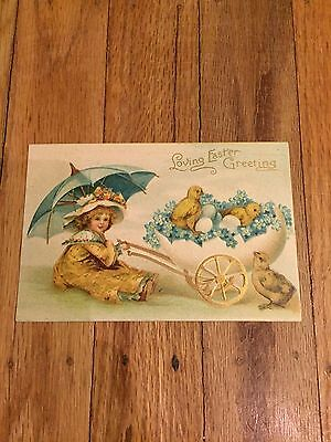 Antique Easter Postcard,Girl,Umbrella,Chicks,Int.Art.Pub,Early Clapsaddle?Egg