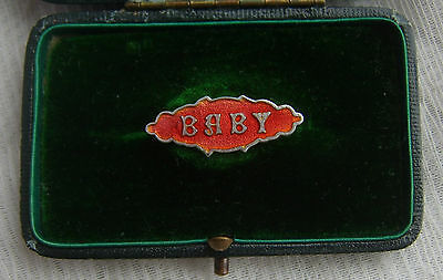 Antique ART NOUVEAU Red ENAMEL on SILVER 'BABY' Brooch c1895