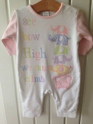 Baby Girl's Clothes 0-3 Months - NEXT Pink And White Elephant Theme Outfit