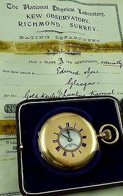 Antique 18ct gold 1/2 hunter Karrusel pocket watch with class A Kew certificate