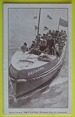 Postcard c.1920 MOTOR LAUNCH 'BRITANNIA' BRITANNIA GREAT YARMOUTH NORFOLK
