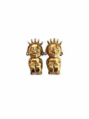 PRE-COLUMBIAN Style Golden Chief Earrings Brass Incan South American